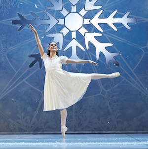 Carina Roberts as Clara in The Nutcracker. Photo by Sergey Pevnev