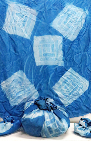 Eric C, 'Wrapped Baggage', detail, 2018, Cyanotype on silk