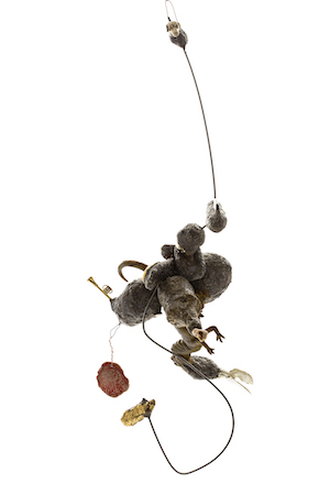 Susan-Flavell-Witches-Ladder-with-Trumpet-2018-found-toys-papier-mache-fencing-wire-from-fake-gold-leaf-baroque-pearls-found-beads-glue-wire-68-x-20-x-26cm.-Courtesy-Art-Collective-WA