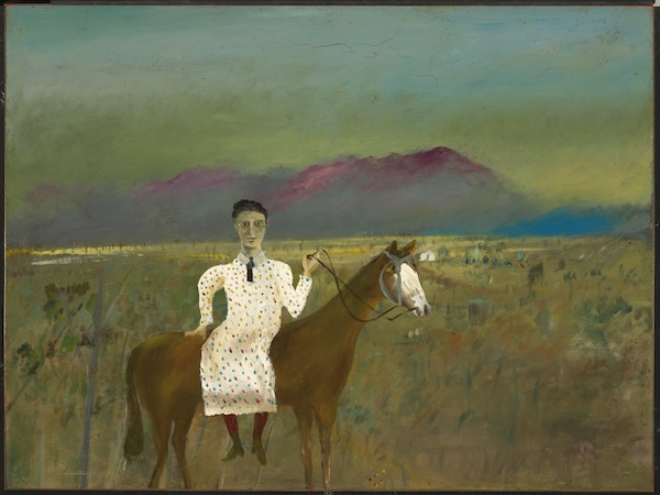 Sidney Nolan, 'Steve Hart dressed as a girl', 1947, from the Ned Kelly series 1946 – 1947, enamel paint on composition board, 90.60 x 121.10 cm, Gift of Sunday Reed 1977, National Gallery of Australia.