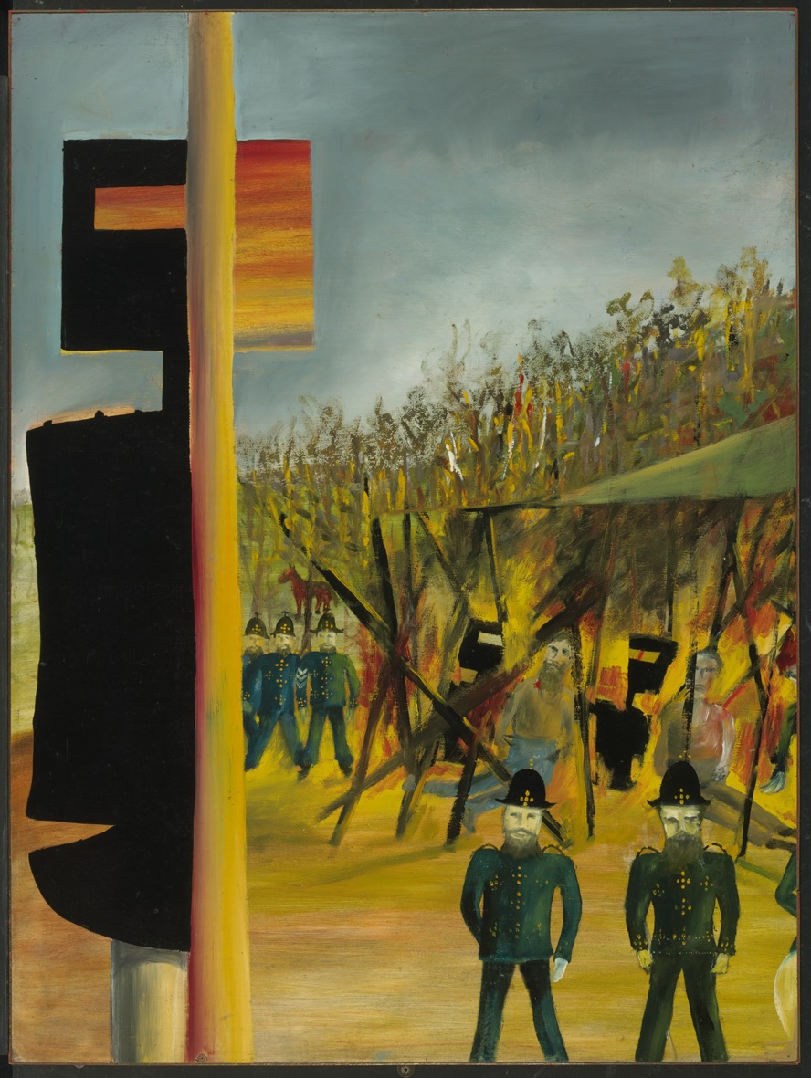 Sidney Nolan, 'Burning at Glenrowan', 1946, from the Ned Kelly series 1946 – 1947, enamel paint on composition board, 121.50 x 90.70 cm, Gift of Sunday Reed 1977, National Gallery of Australia.