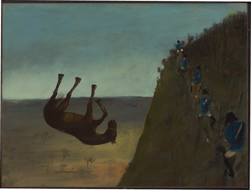 Sidney Nolan The slip 1947 from the Ned Kelly series 1946 – 1947 enamel paint on composition board 90.70 x 121.10 cm Gift of Sunday Reed 1977 National Gallery of Australia
