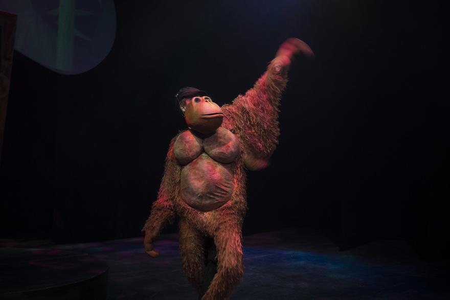 A dancing gorilla puppet
