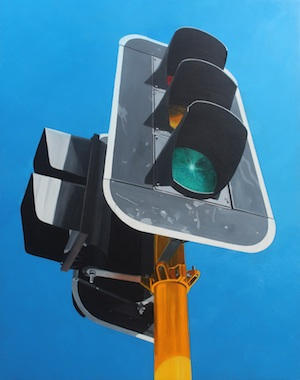 A painting of traffic lights, looking up from the ground