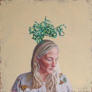 A portrait of a blonde woman with green tape-like stuff emerging from her head like a plant.