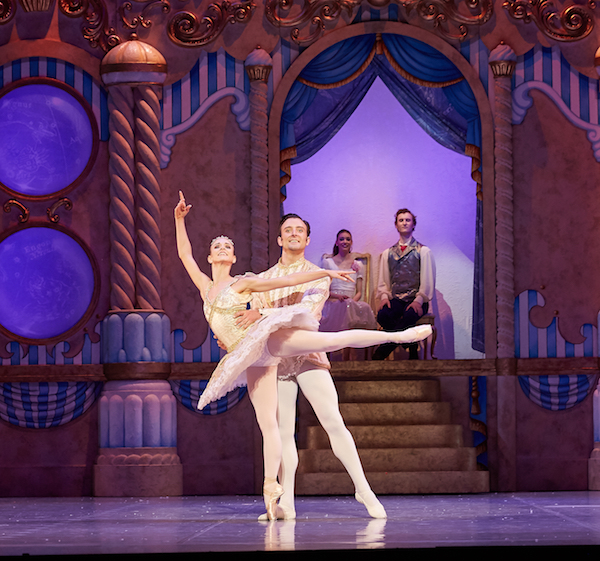 Matthew Lehmann (Nutcracker Prince) and Claire Voss (Sugar Plum Fairy) in The Nutcracker. Photo by Sergey Pevnev