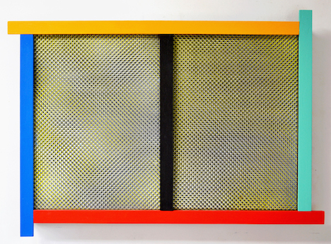 An artwork made of canvas with frames of blue, yellow, green, red and black