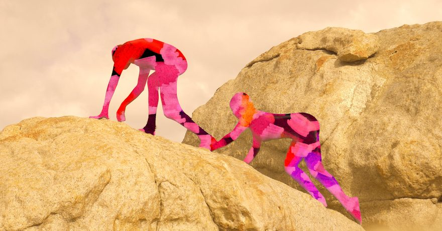 A photo of two people climbing a sand dune. Their body outlines are filled with pink geometric shapes.