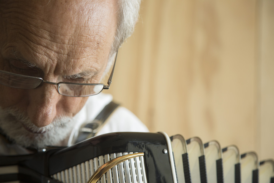 A close up of a man playing the piano accordion