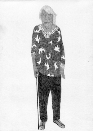 A line drawing of an elderly Indigenous woman leaning on a walking stick