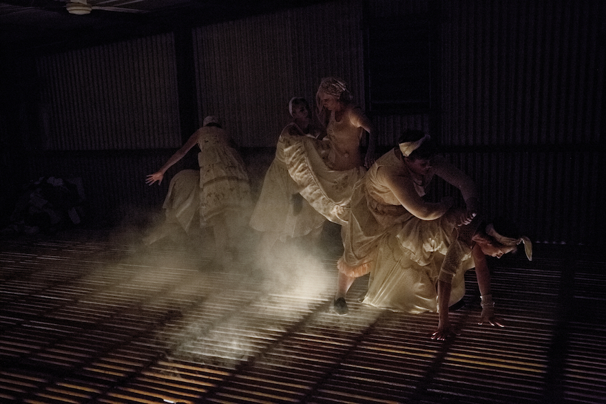A group of dancers, moving in smoky semi-darkness.