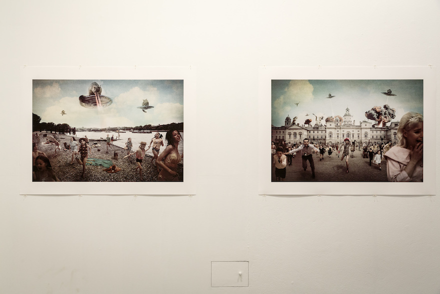 Michael Cook's speculative images of native Australian fauna invading 1960s London on spaceships
