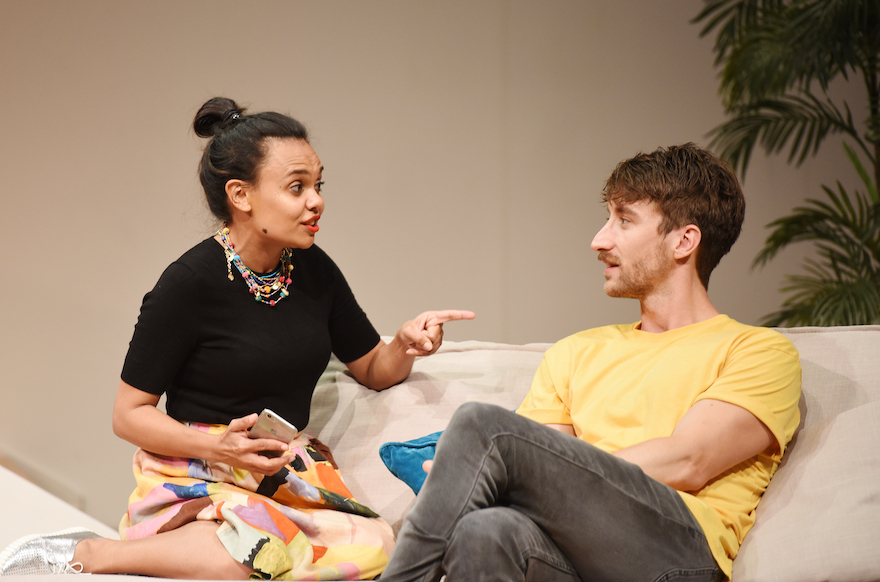 Miranda Tapsell as Charlotte and Tom Stokes as Francis. Photo: Toni Wilkinson.