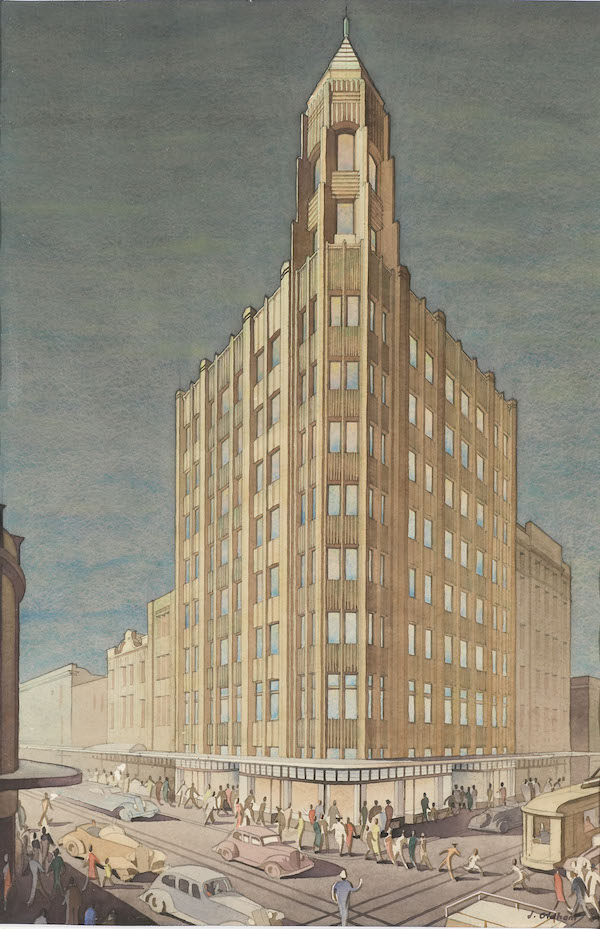 John Oldham, The Gledden Building, 1936, watercolour, 59.5 x 39 cm, The University of Western Australia Art Collection, Gift of Oldham, Boas, Ednie Brown Architects, 1937