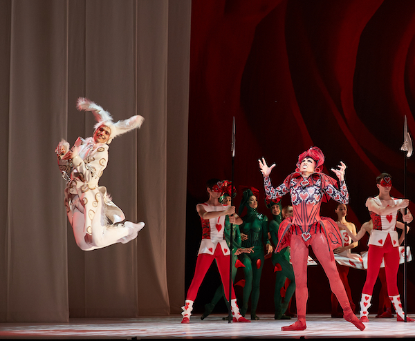 Julio Blanes as the White Rabbit and Glenda Garcia Gomez as the Queen of Hearts in ALICE (in wonderland). Photo by Sergey Pevnev