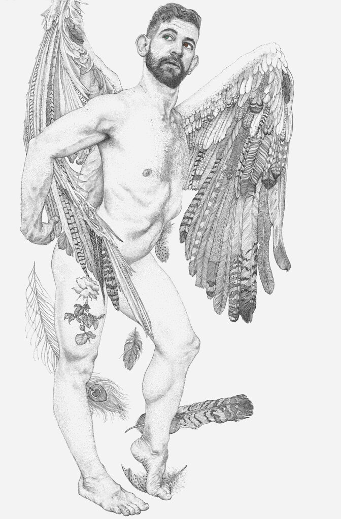 an ink drawing of a naked man with large feathered wings