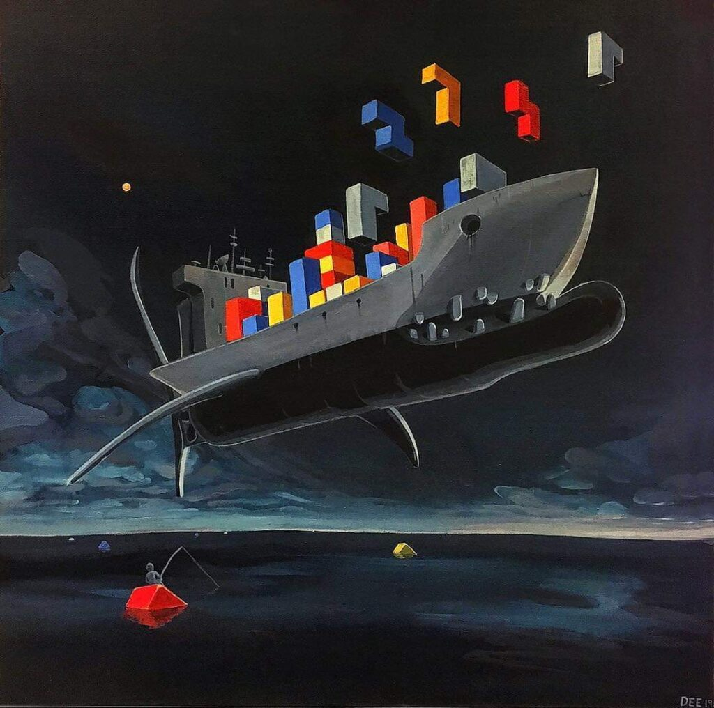 A cuboid shark/warship is suspended against a dark, stormy looking sky, above an equally dark but calm ocean. Primary coloured tetris sit on its deck and float into the sky.