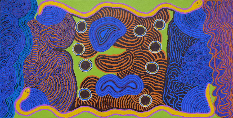 An abstract representation of Kungkarrangkalpa, Seven Sisters' by Angilyiya Tjapiti Mitchell, depctued using lines of vibrant royal blue, orange, lime green and pink, interspersed with brown.