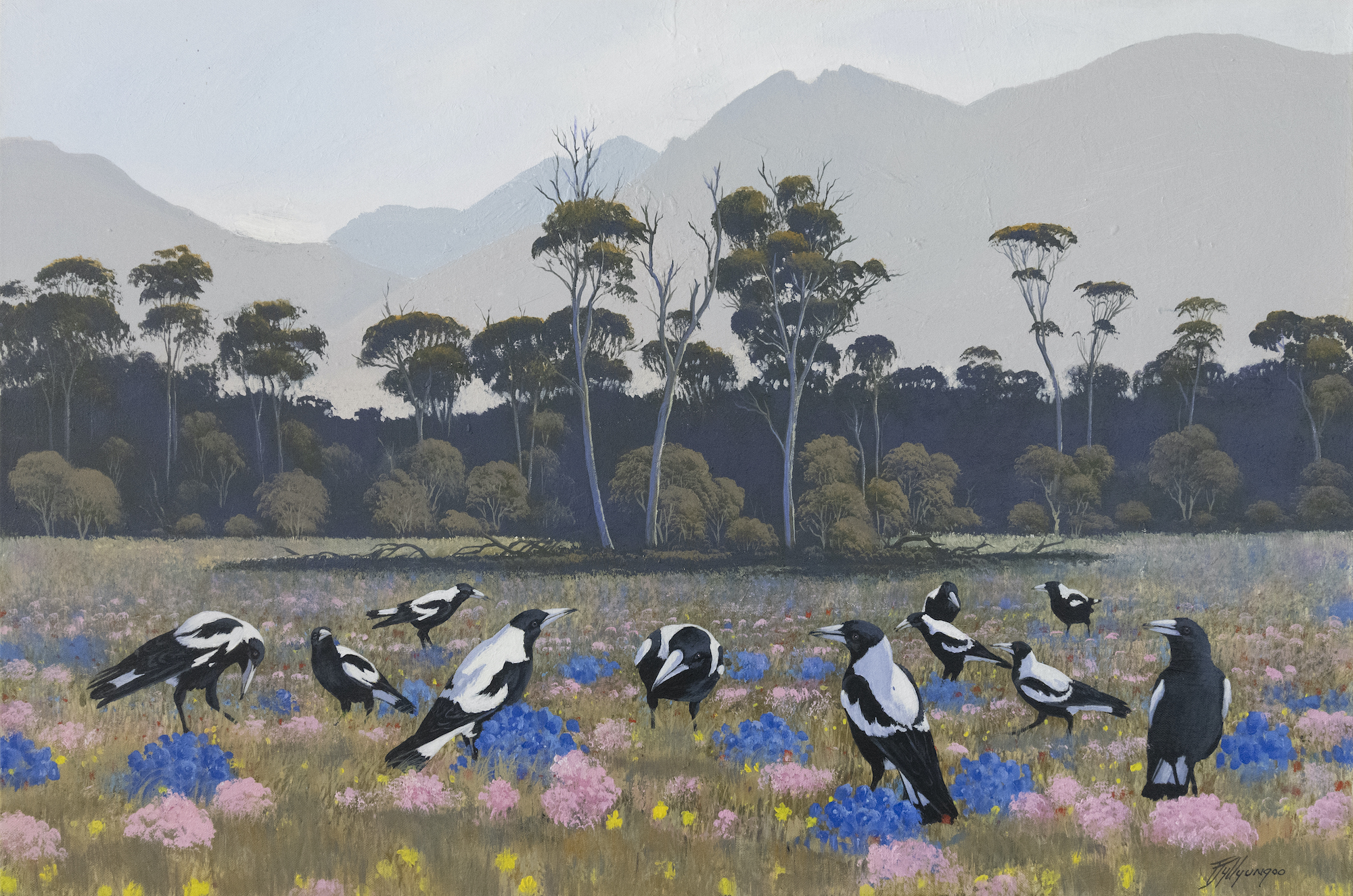 Pictured is a field of magpies.