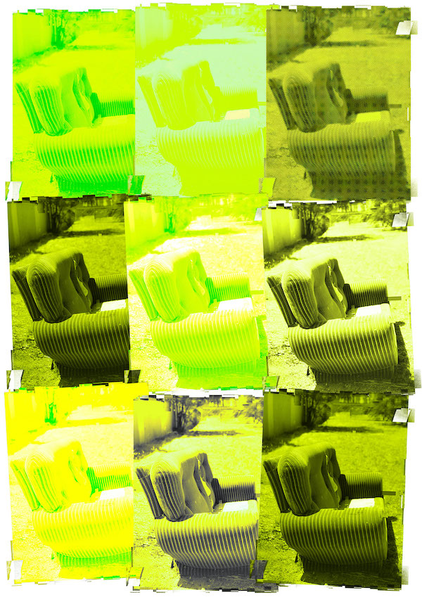 A work by Sioux Tempestt, composed of 3x3 portrait images of an abandoned sofa. Each image is tinted a different shade of a fluorescent yellow, and exposure is varied.