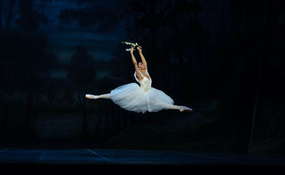 In the white tutu of a Wili, Dayana Hardy Acuna soars through the air in a grande jete, holding two sprigs of flowers.