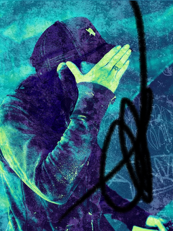 A portrait of the artist. She is in profile, with one hand covering her face. Although the image is a photograph it was colour and markings superimposed on top.
