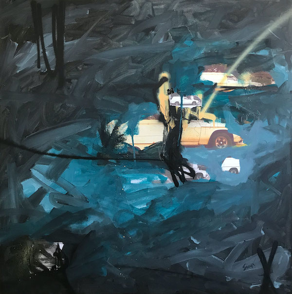 A canvas is covered in paint in shades of grey and teal blue, the brush strokes visible and messy. Peeking out from gaps in the paint we can make out sections of three cars.