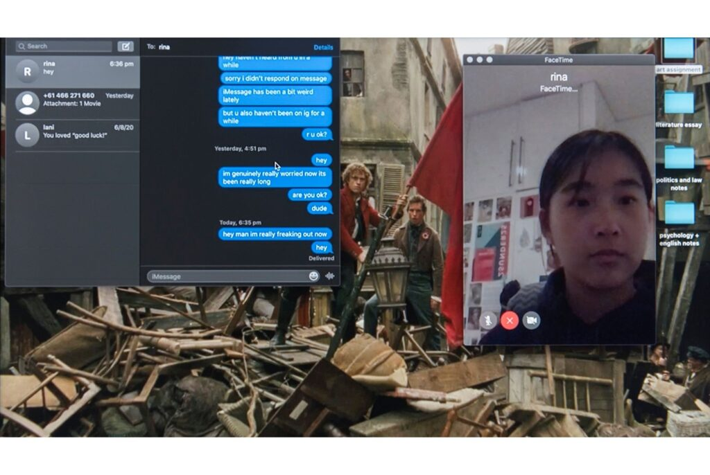 Over an image that looks like it comes from a film and depicts a bombed street, are superimposed a text message conversation and a FaceTime screen featuring the face of a teenage girl. The messages are from one side only and are increasing in concern as the other person doesn't respond.