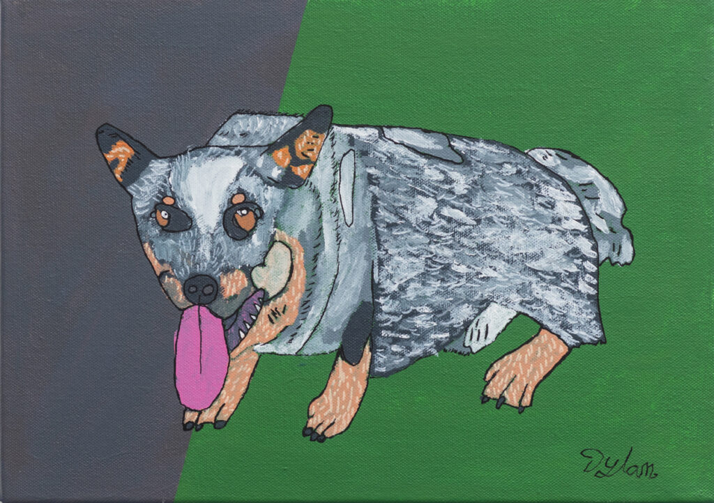 A painting of a blue heeler, against a grass green block of colour, edged by bitumen great. The dog's tongue is bubblegum pink.