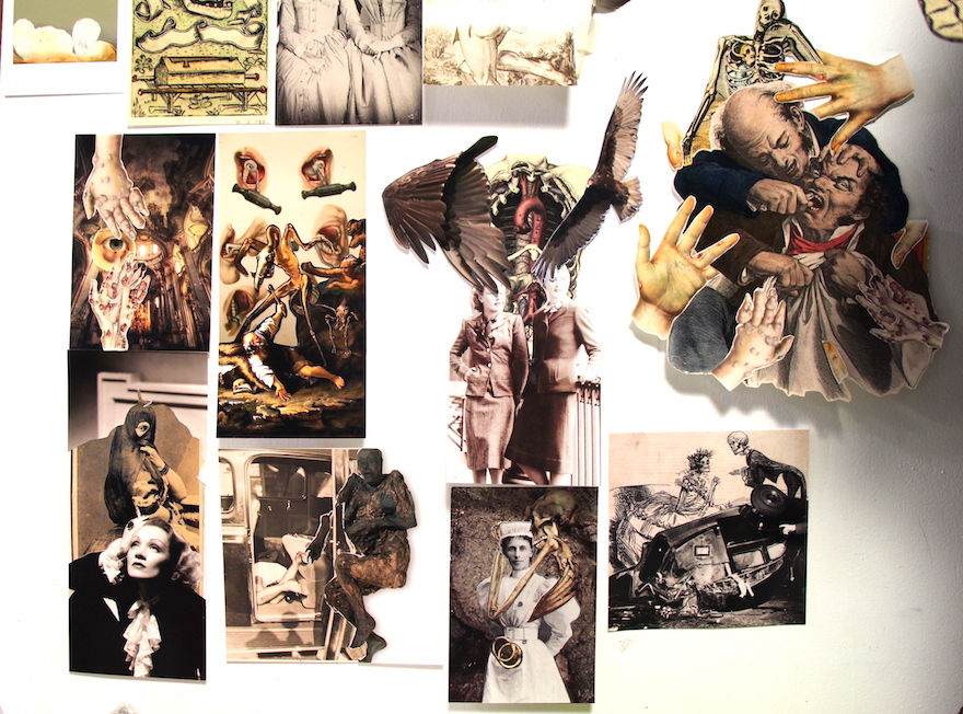 A photomontage college of surreal, often horror-infused images, such as  mummified figures, disembodied hands, clothed skeletons.