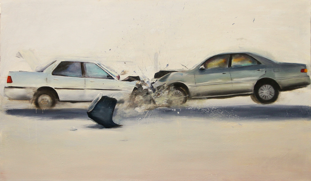 Two cars smashing together. They are painted in subtle, gentle greys and whites with delicate touches of colour that belie the violence of the scene.
