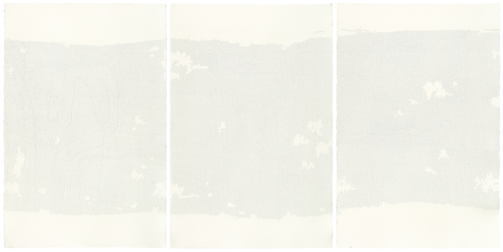 A triptych of white panels, with landscape like images made of tiny pinholes.,